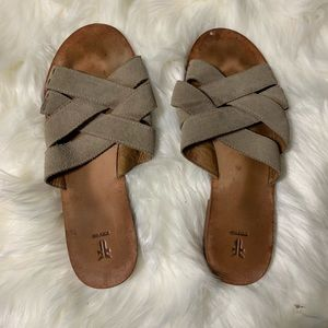 Frye suede tan strappy leather sandals size 9